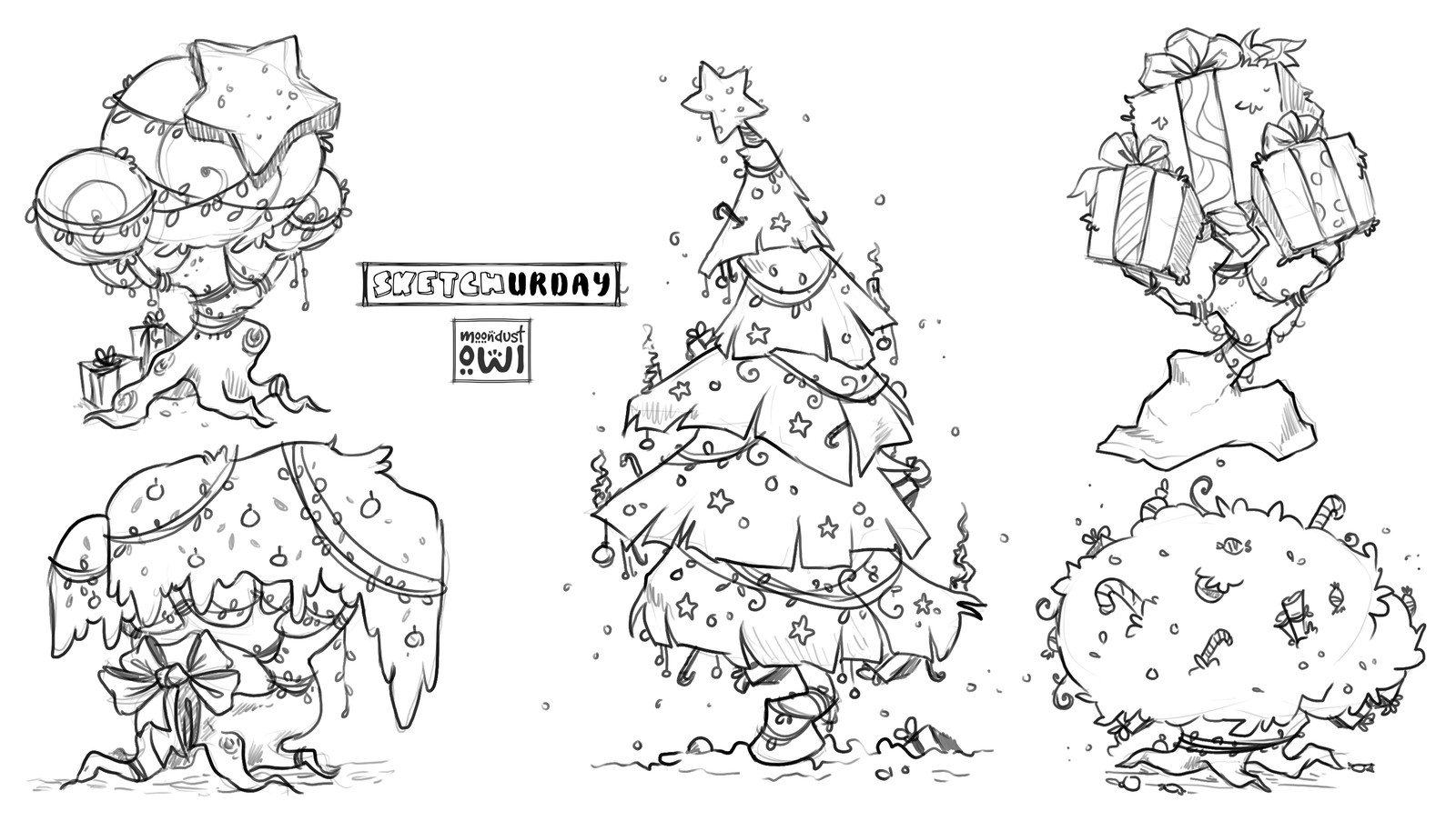 Saturday Concept / Practice sketching of fantasy Christmas trees