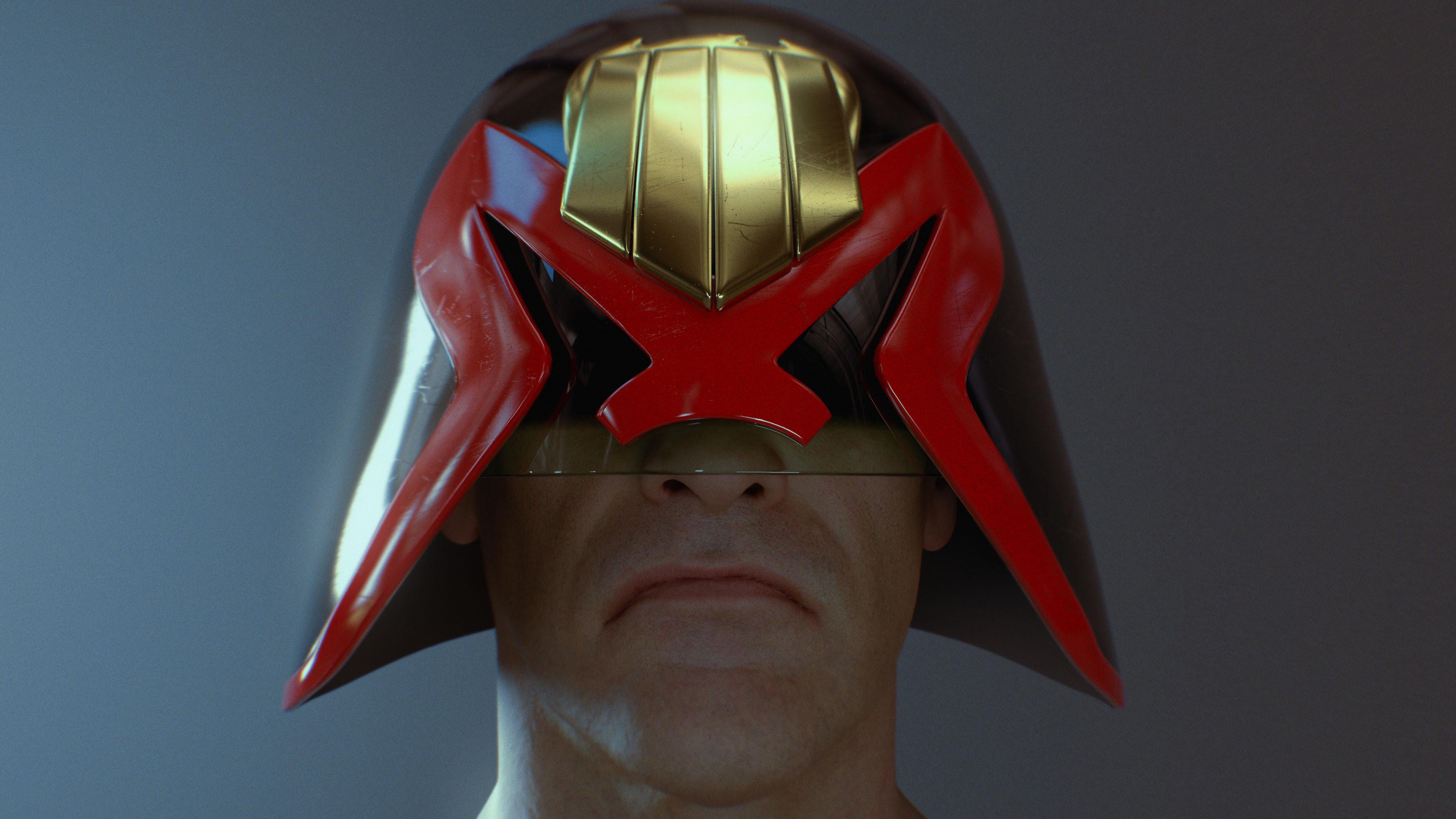 Judge Dredd Helmet based on a design by Brendan McCarthy (Head sculpt by Ten24)