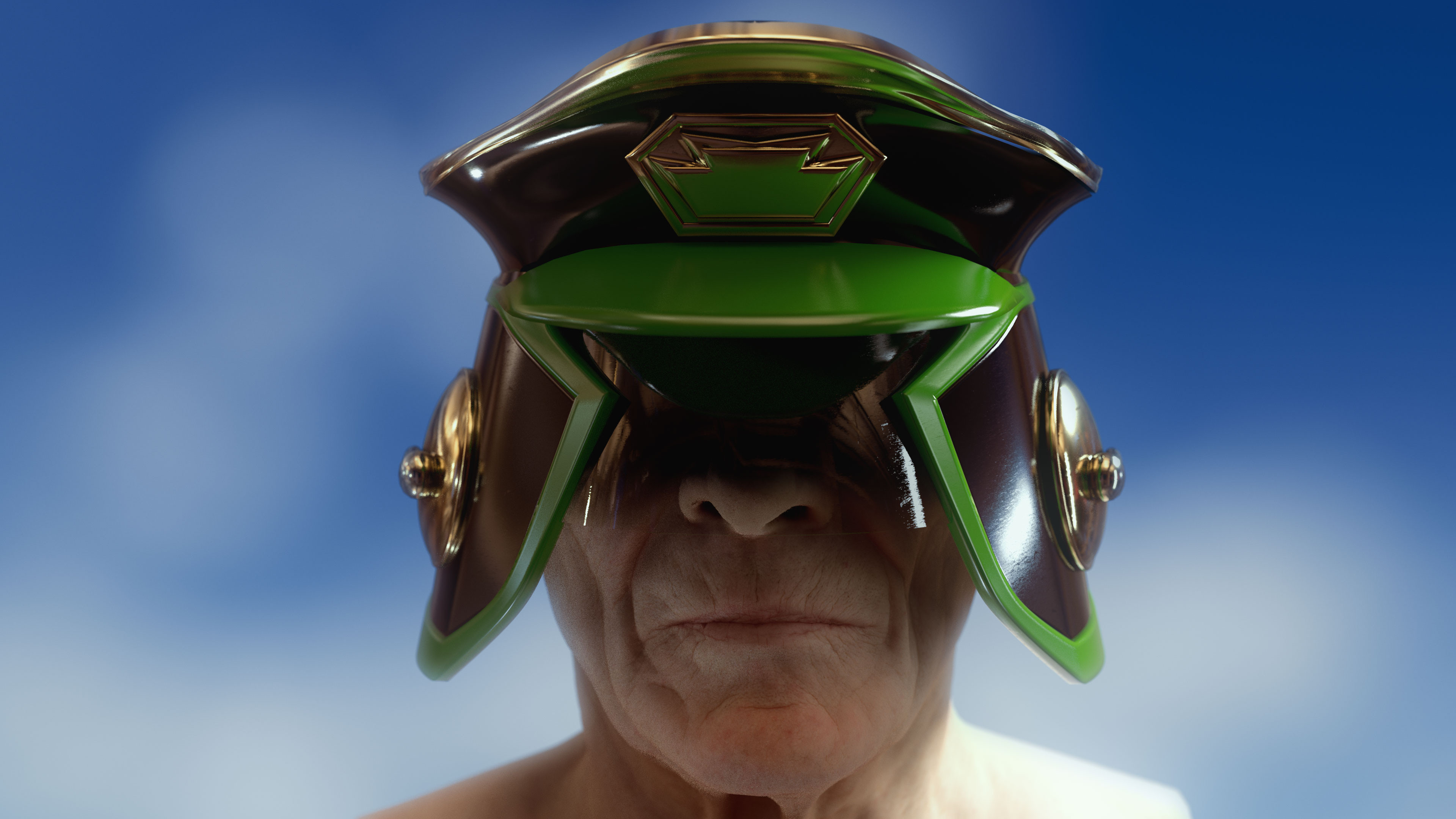 Oz Judge Helmet based on a design by Brendan McCarthy (Head sculpt by Ten24)