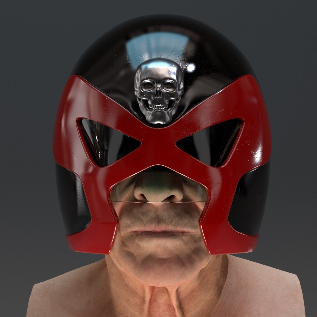 Mega-City One SJS Judge Helmet based on a design by Mick McMahon (Head sculpt by Ten24)