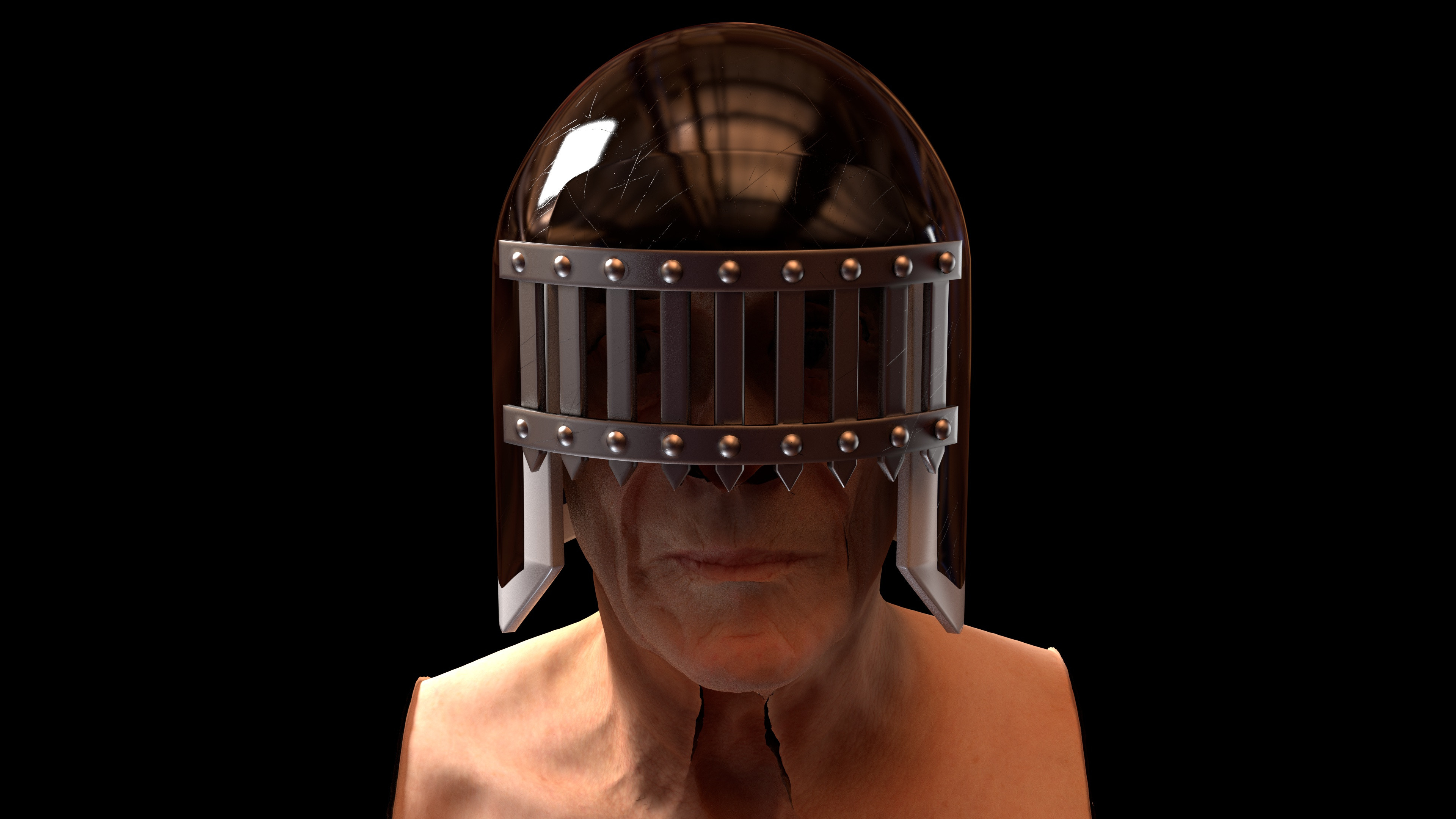 Judge Death Helmet based on a design by Brian Bolland (Head sculpt by Ten24)