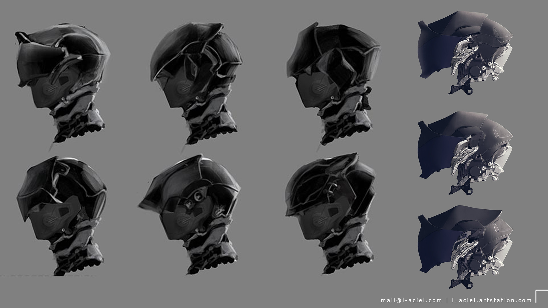 Helmet sketches and variations.
