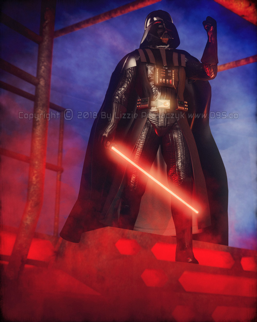 Darth Vader, with his lightsaber drawn, enters the carbonite freezing chamber to confront Luke in the Cloud City on Bespin.
