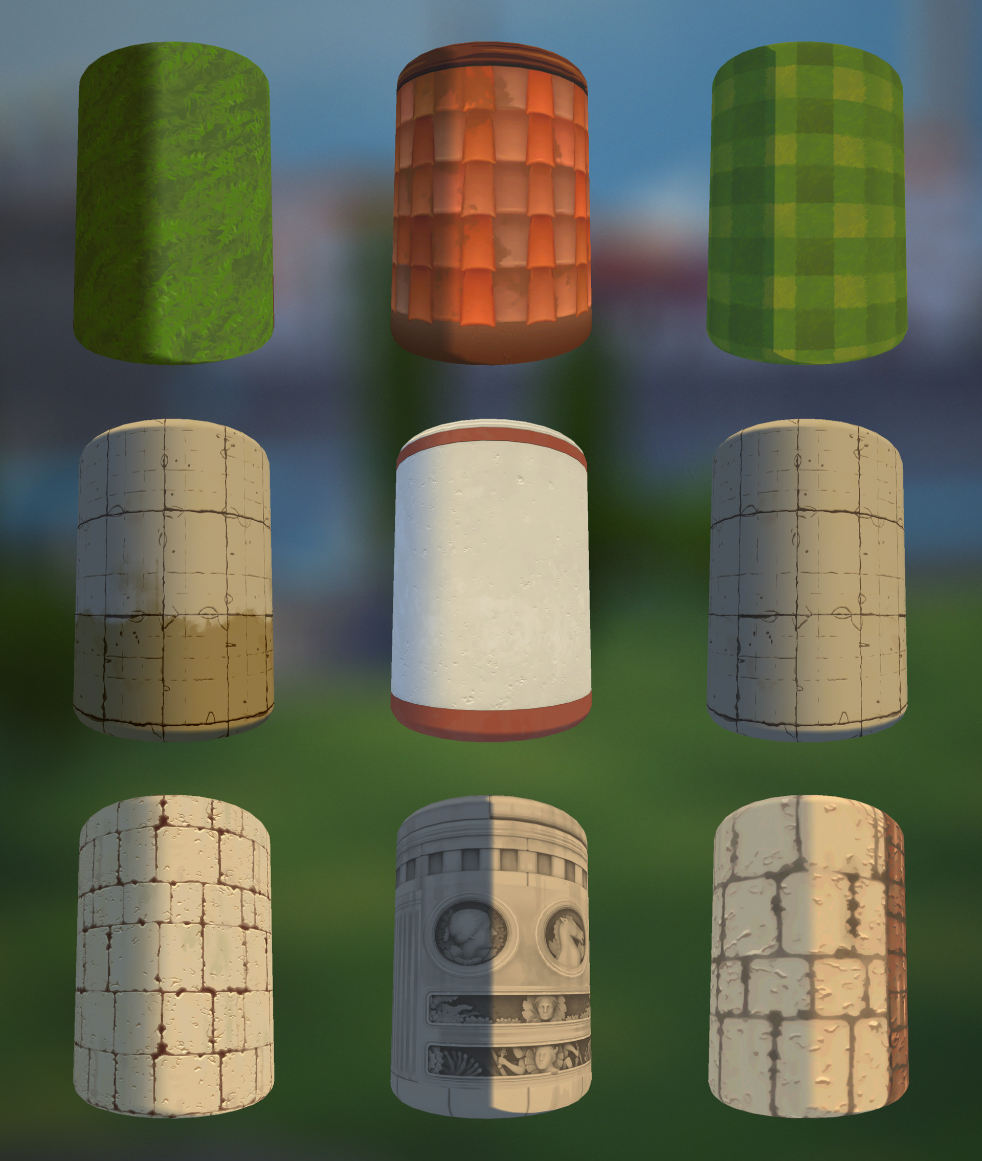 All textures were created in Substance Designer for fast iteration. I was able to leverage pieces of graphs across multiple textures to economize production. They all use a custom shader I wrote in Amplify for quick iteration on stylized mood.