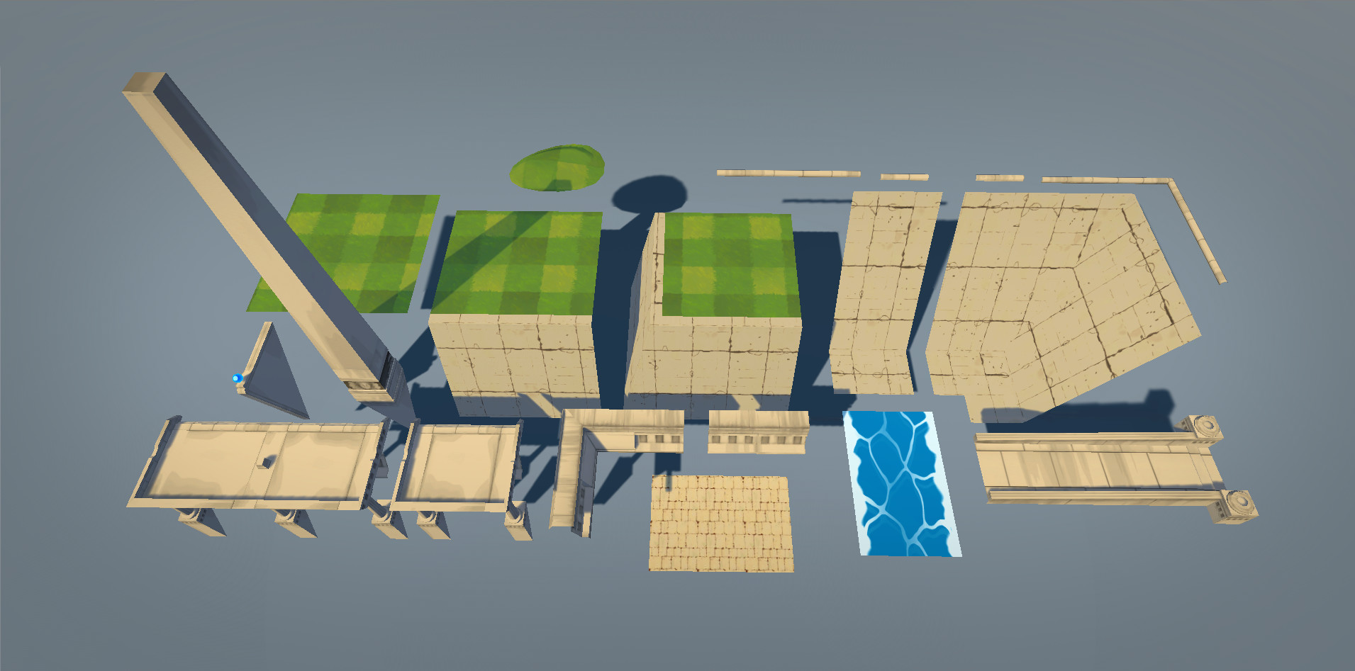 Kit breakdown for larger architectural elements. All of the stonework pieces use either a tiling texture, or a single trim sheet. The tiling texture for the grass is tri-planar projected, so the hill meshes can easily be edited without concern for seams.