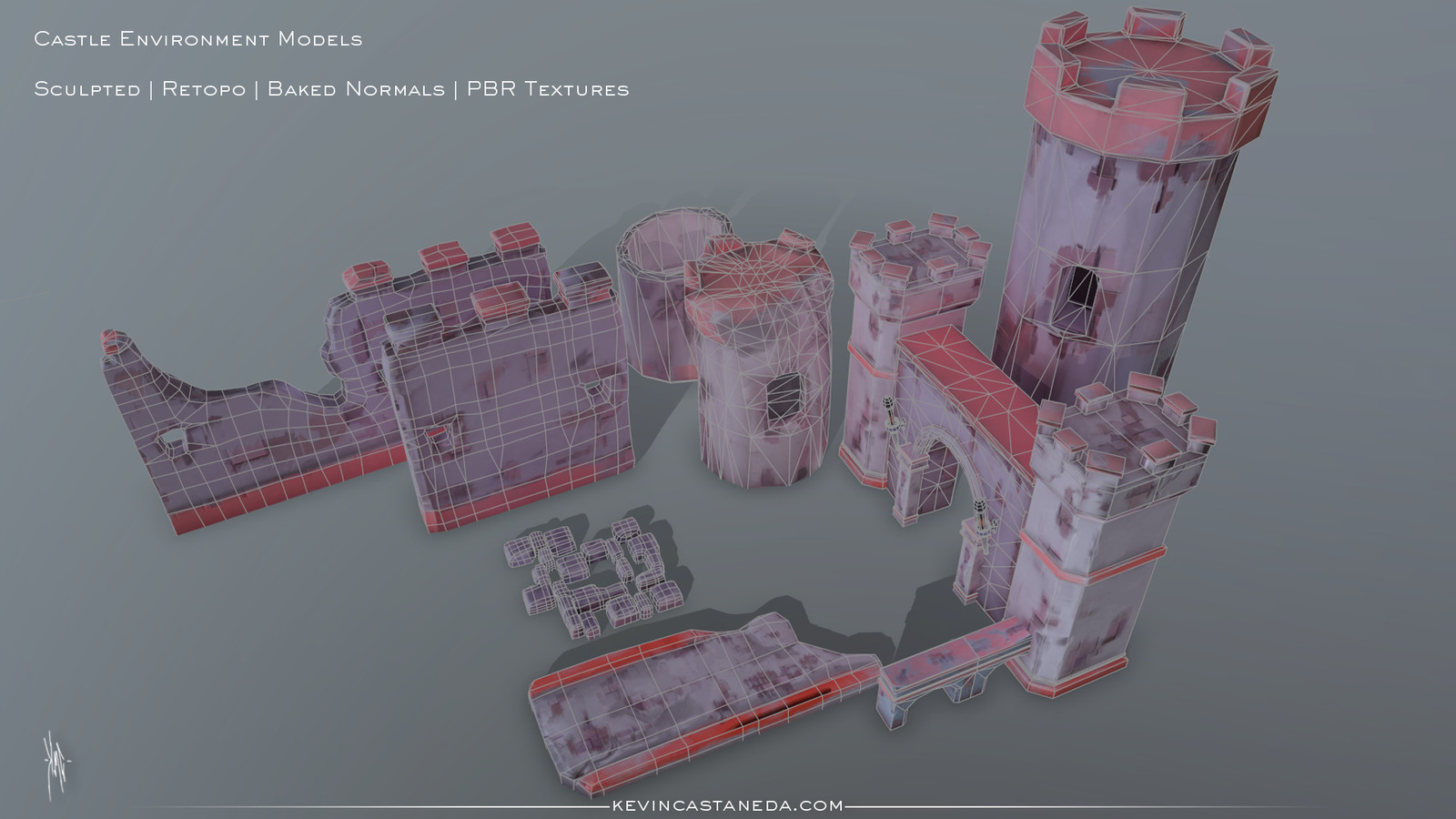 Wireframe of the castle environment models. These pieces were first modeled in maya, taken to Zbrush, sculpted, and then baked the normal maps. Textures were done in Substance Painter.