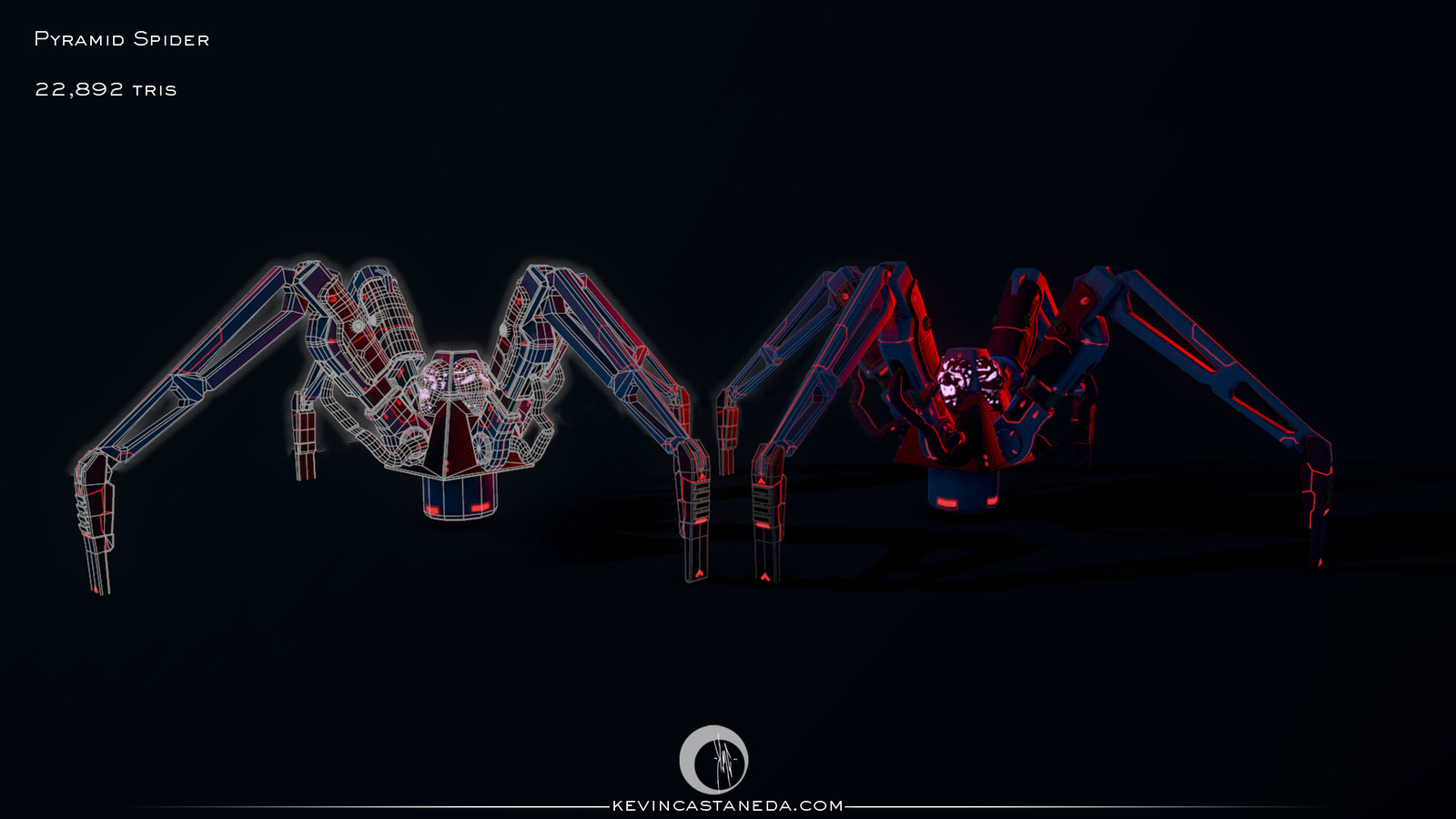 Pyramid Spider with wireframe example.