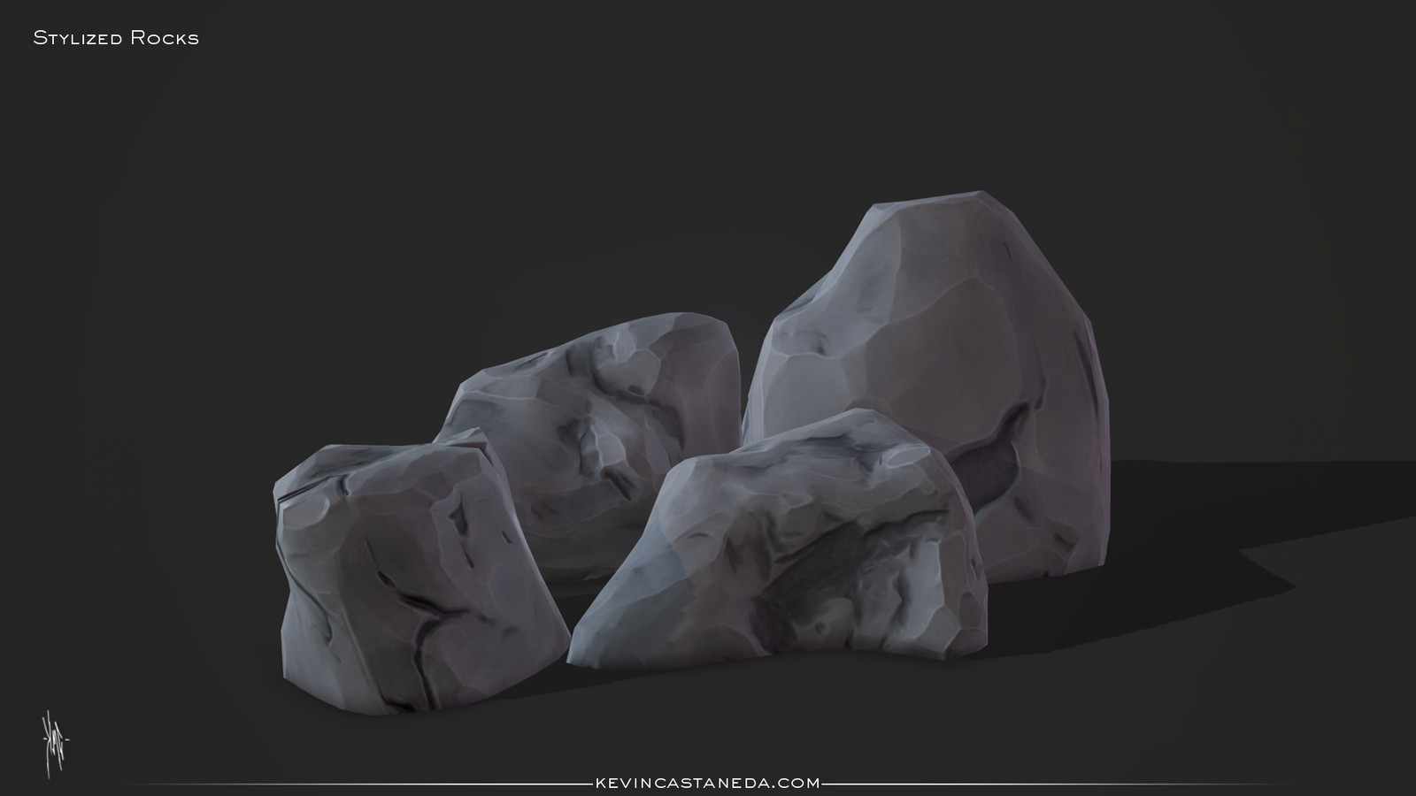 Sculpted rocks in zbrush. Baked, and then textured in Substance Painter.