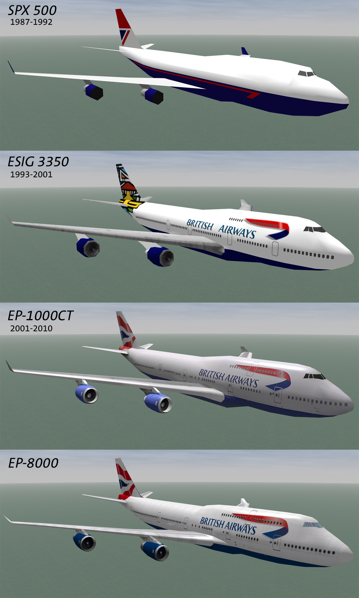 The evolution of one realtime model from 1987 to 2011. The geo and textures were rebuilt each time for each new version of the simulation hardware and software.
