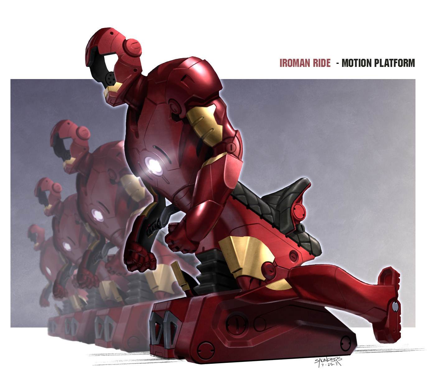 Design for the motion platform for the networked simulator version of the Iron Man ride. I got to develop and write the story treatment and pitch document for this ride proposal as well.