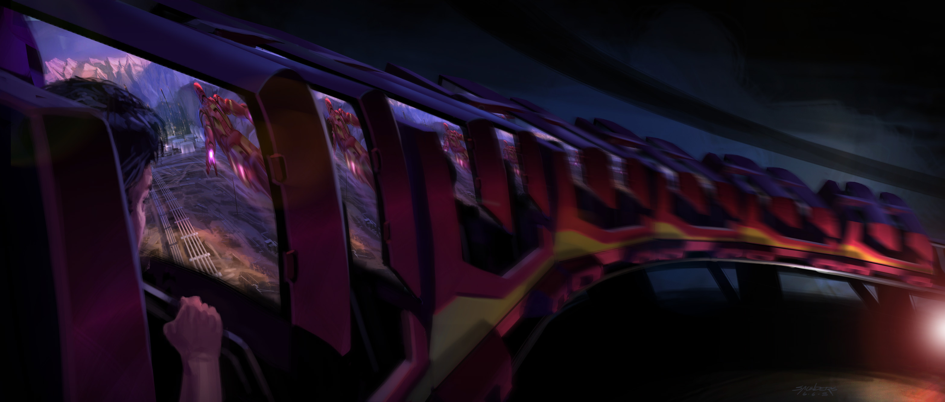 "Pitch illustration for the ""dark coaster"" version of the Iron Man ride. This might have been a spectacular ride, with a dynamic movie synchronized to the motion of the coaster."