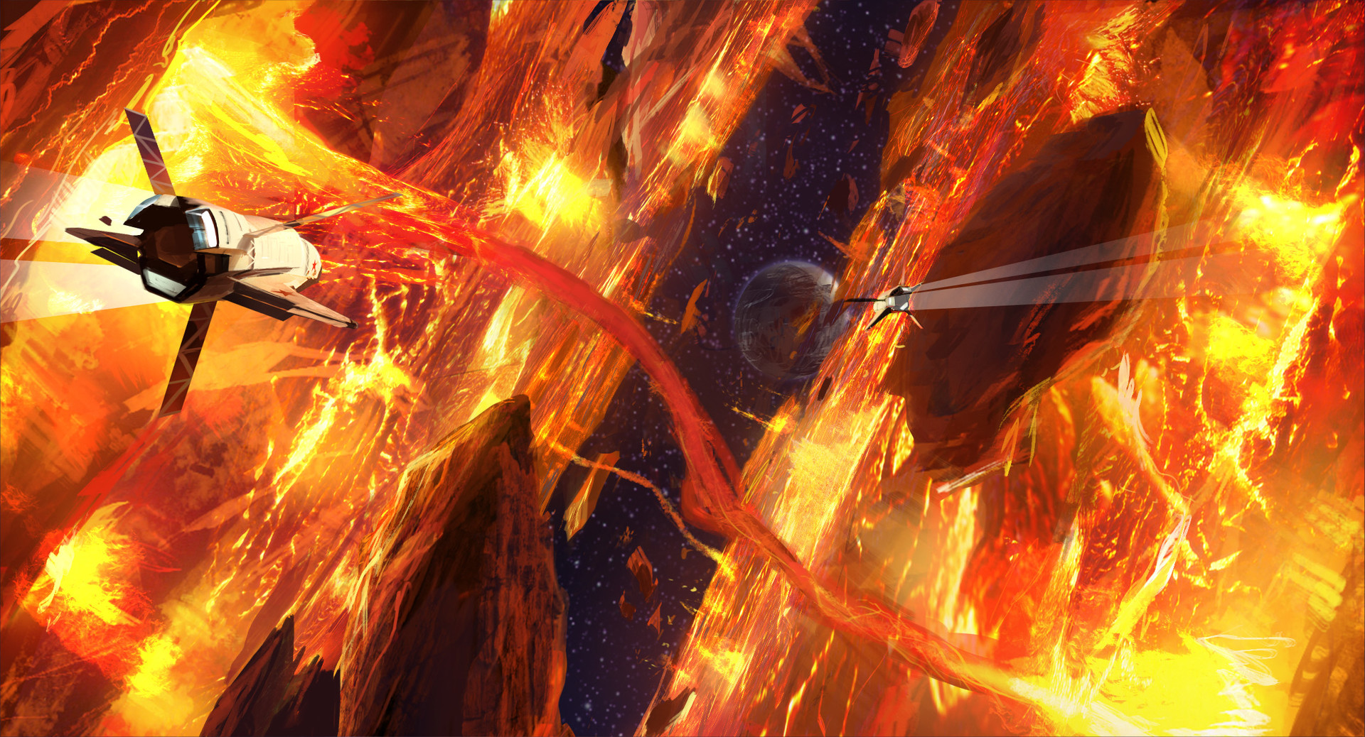 As the planet splits asunder, we fly between the monoliths of shattered molten core as titanic forces are unleashed—