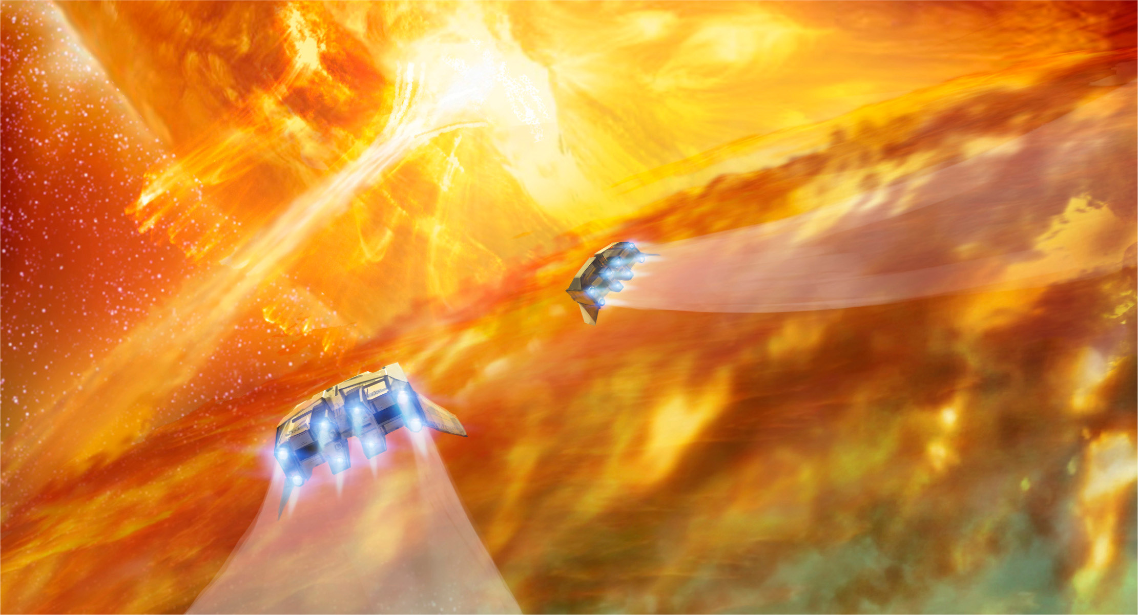 6)	Our ships skip over the ring of burning gas. With the red giant now risen out of view, the bridge between stars looms ahead like a waterfall of liquid fire.
