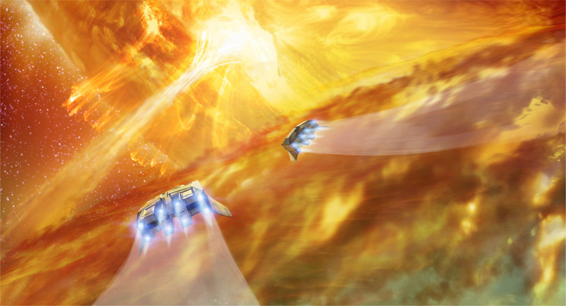 6)Our ships skip over the ring of burning gas. With the red giant now risen out of view, the bridge between stars looms ahead like a waterfall of liquid fire.