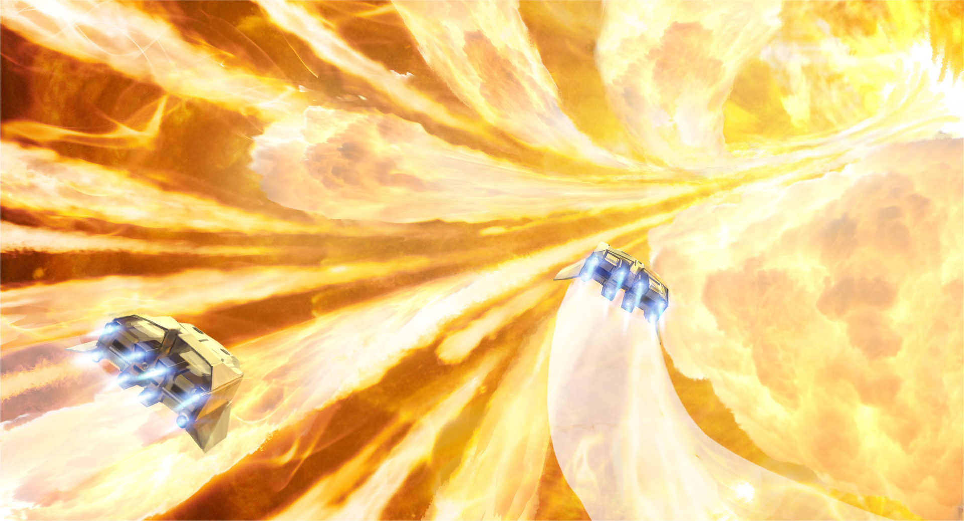 We fly up the bridge against the stream toward the angry giant beyond, dodging the bombardment of molten plasma.