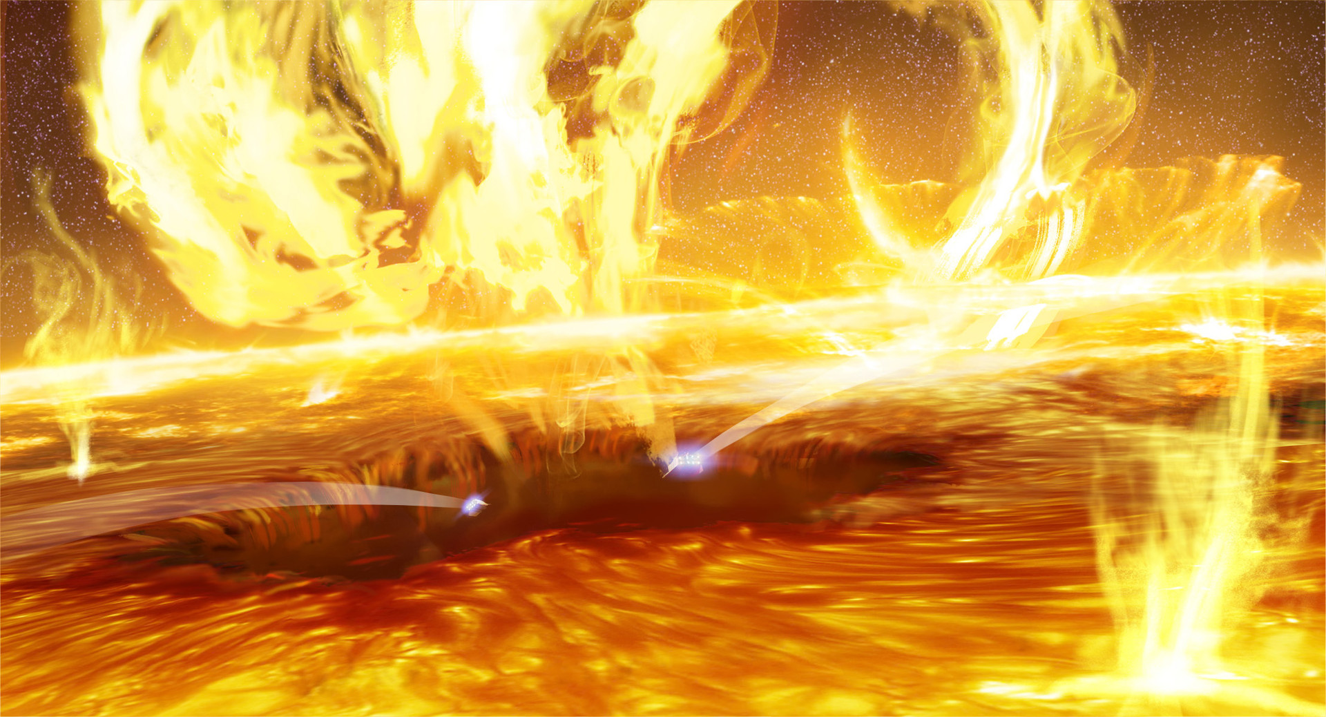 Our ships fall into the gaping hole in the burning surface of the sun.