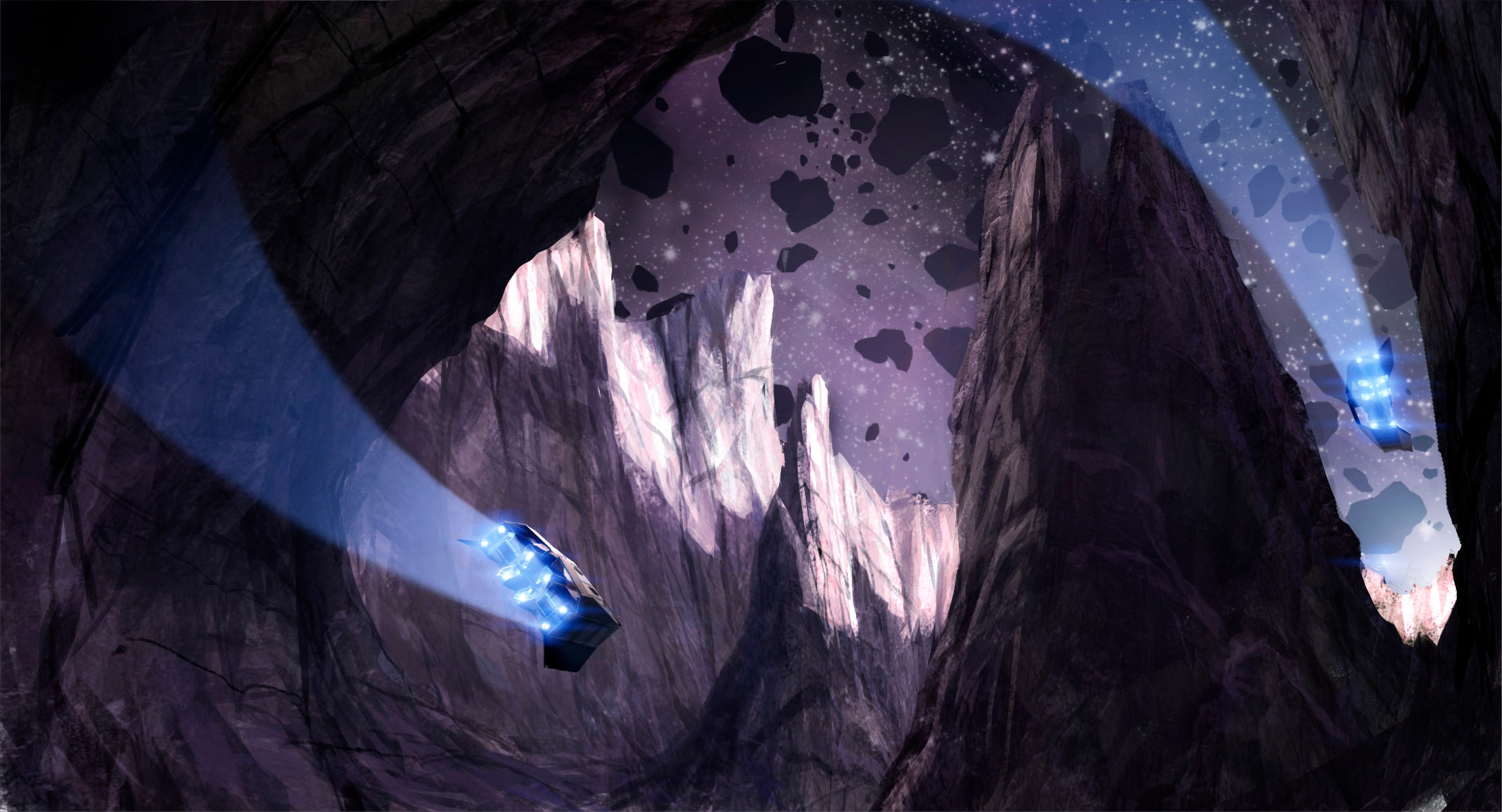The Shenzhou careens between irregular outcroppings as our sister ships swoop into view.
