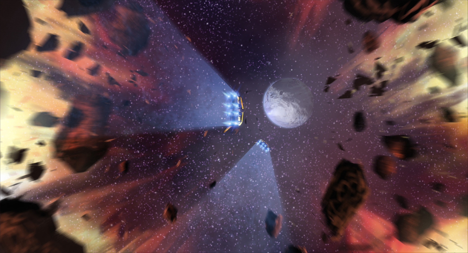 The ships punch through the explosion into a clear field of stars toward—