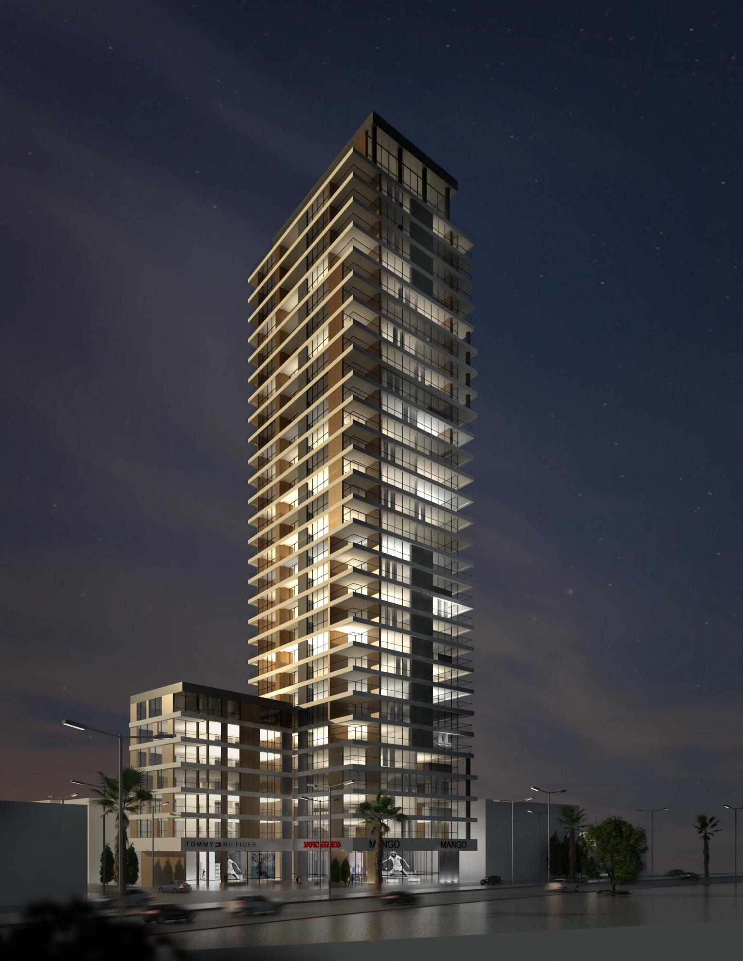 Itai Pick - mixed use building, night scene