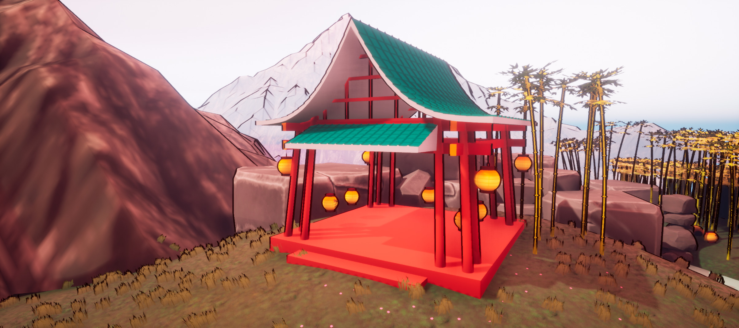 The temple with all of the lanterns returned.