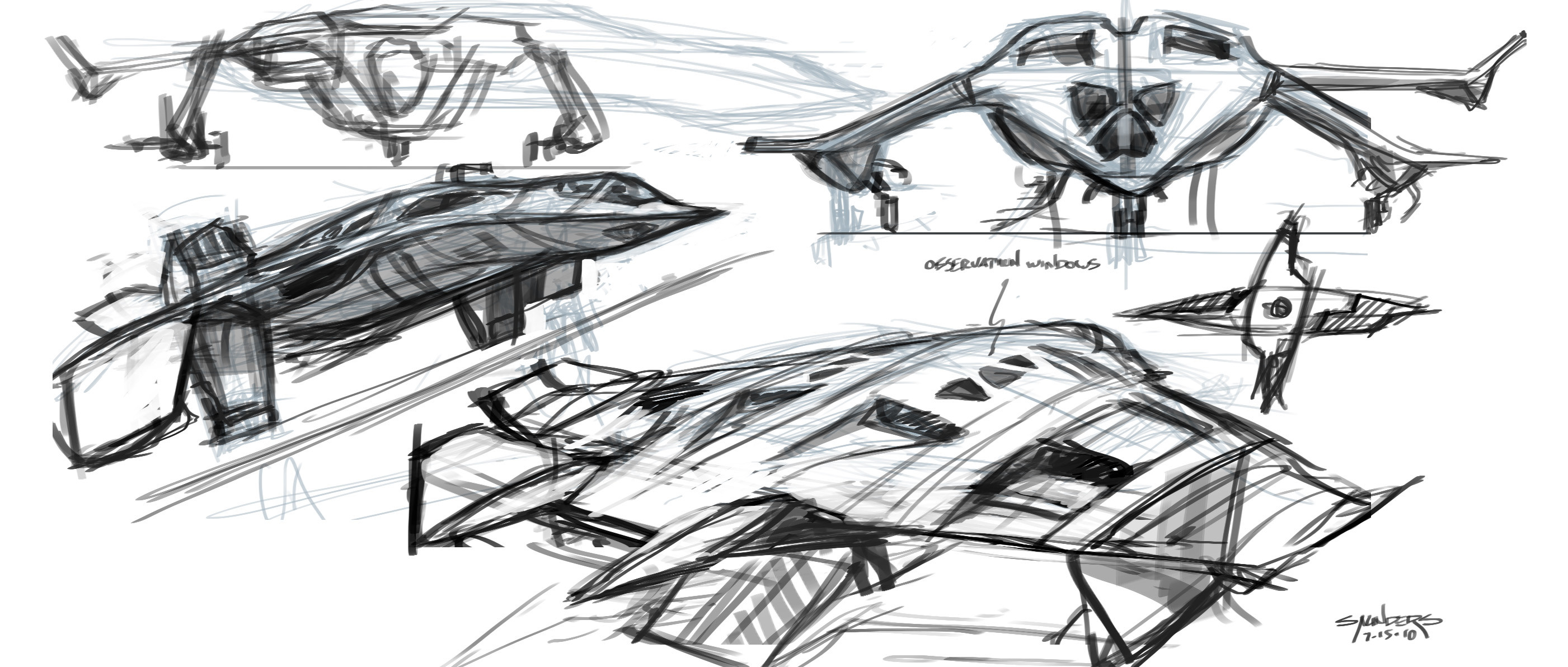 A page of early ideas for the Quinjet.