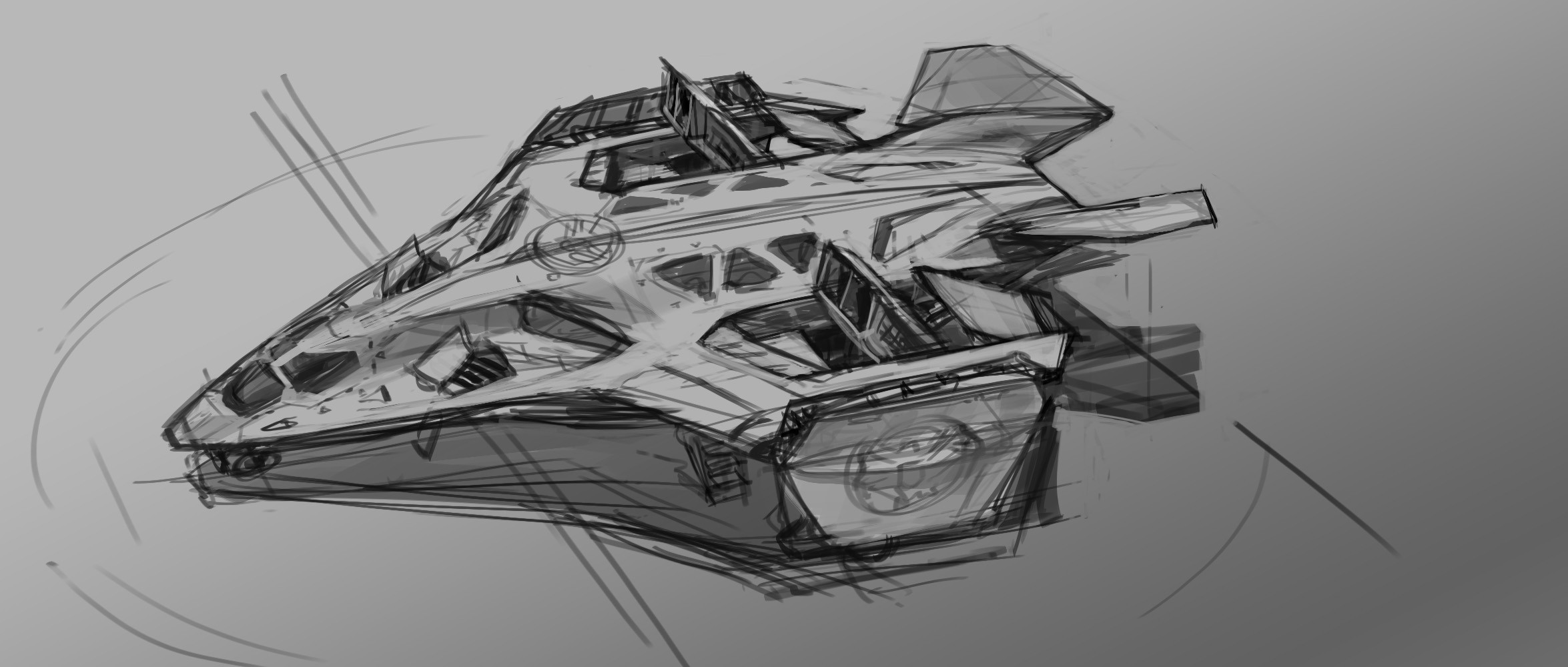 Another early sketch for the Quinjet. The skylight windows were for a scene where Thor lands on the roof in flight.