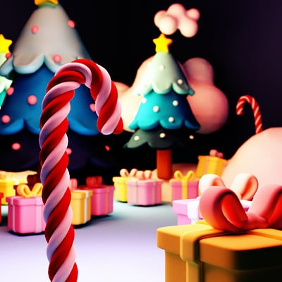Tzuyu kao artstation tykcartoon 3d christmas candy cane close up 1123ss