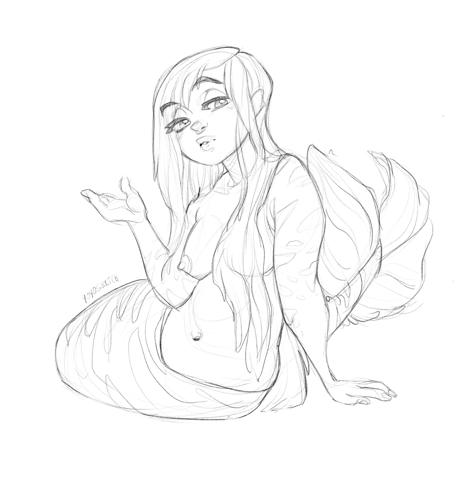 Artstation Mermaid Sketch Yoyo Sketch