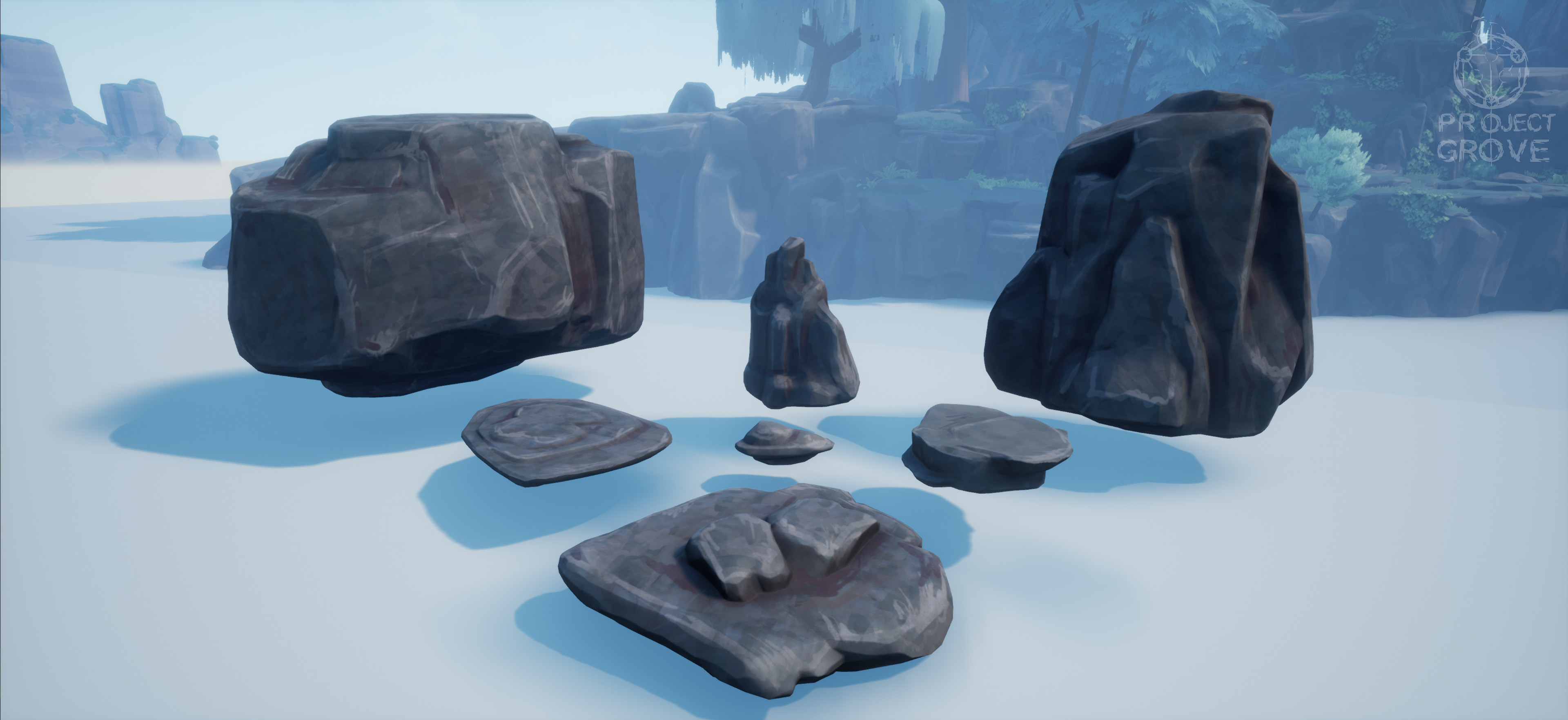 Rock set: each rock has a specific purpose and is designed in a certain way. You have big fillers with simple shapes to block out large areas, flat rocks for floors and ceilings and smaller rocks to create detail around player height.