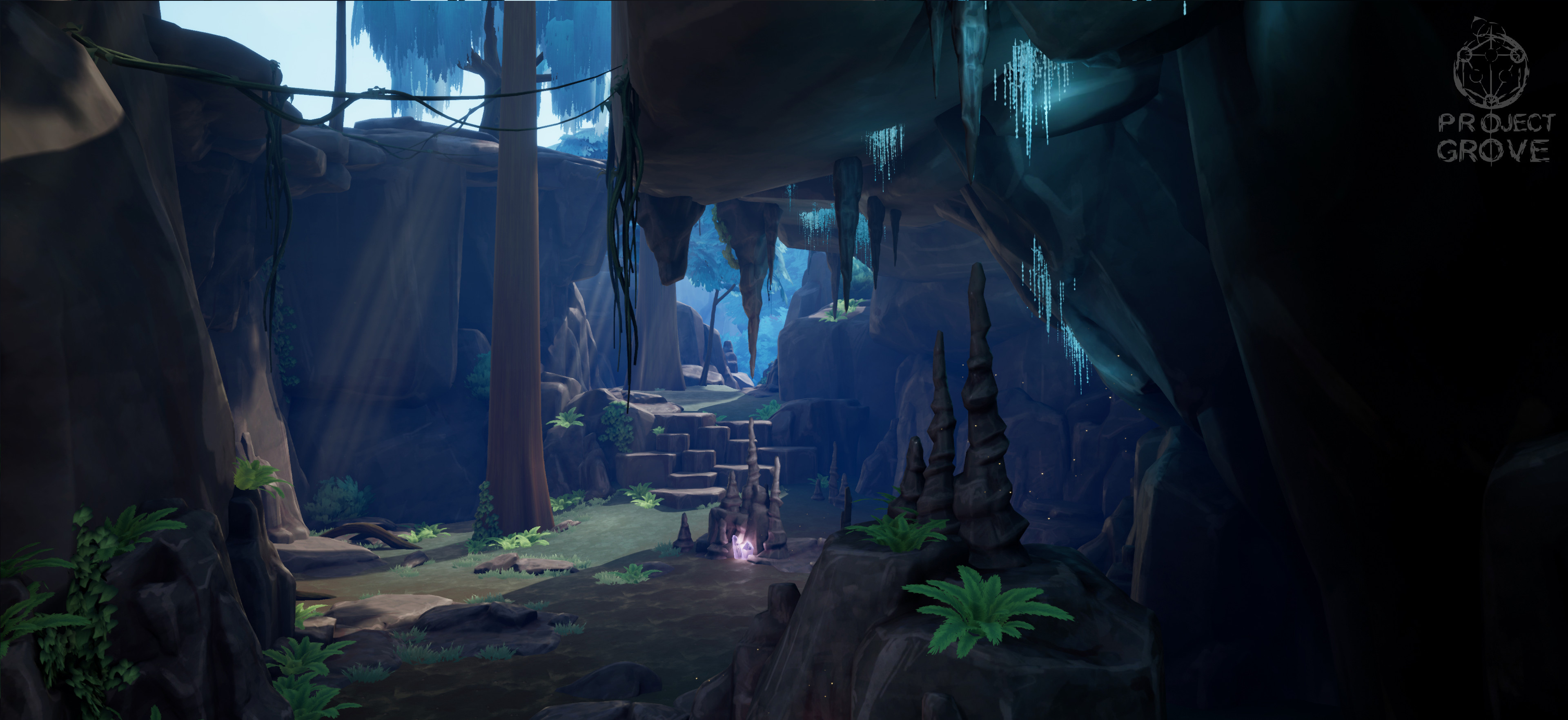 3D environment I put together with the assets I made. Here I'm using a lot of different light sources to light the cave, like the glow worms and glowing crystals.