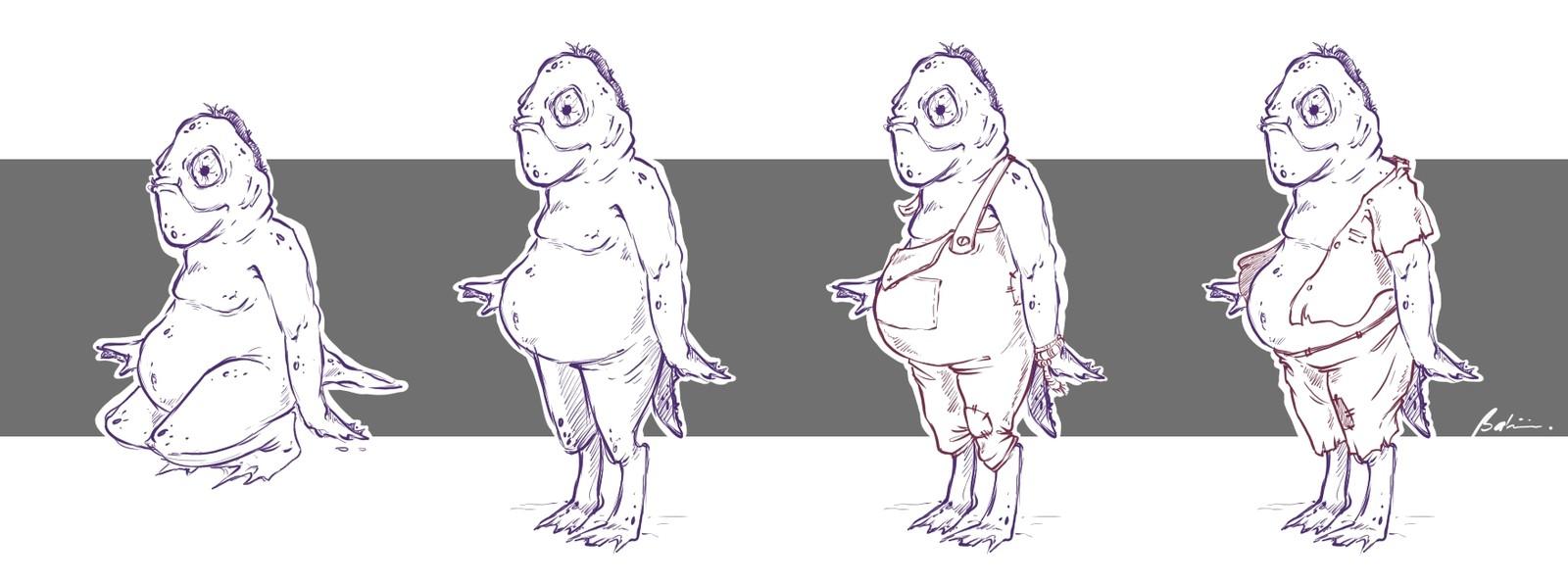 Full body sketches of the fishmen
