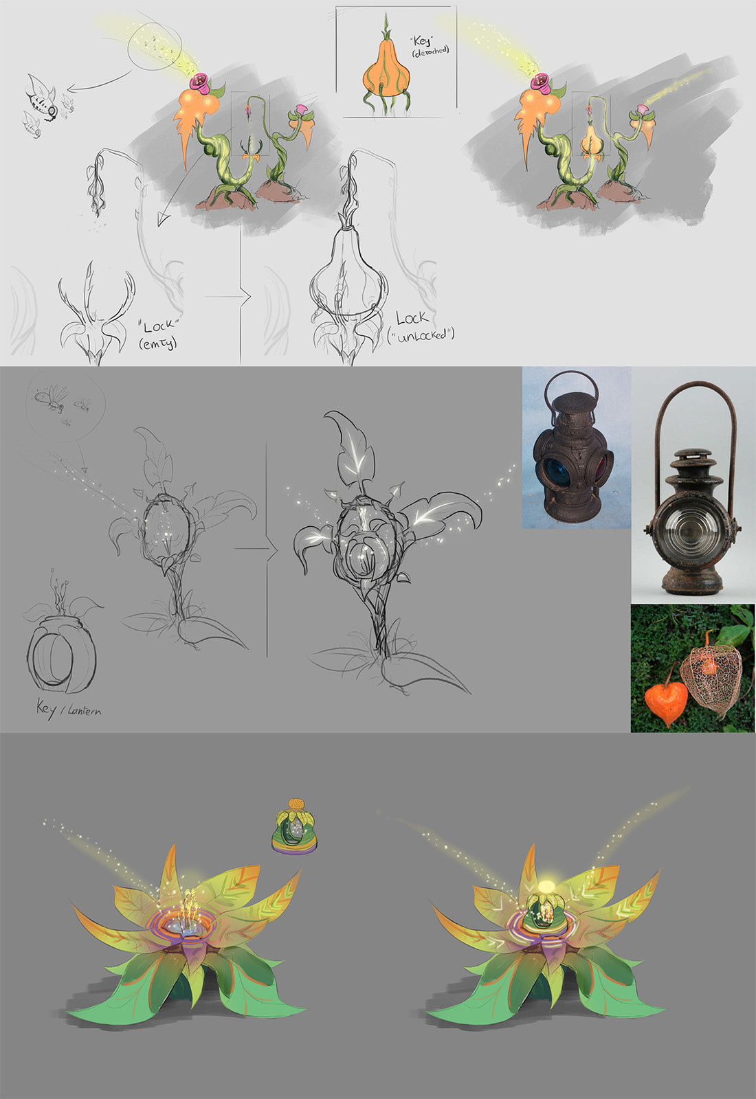 Rough sketches. I made these in constant communication with the other team members to quickly come up with a design that would work for the gameplay. We needed a plant that would function as some type of 'lock' where you could place a key-type object in.