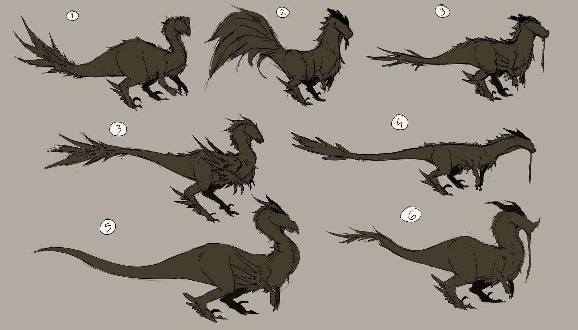 First thumbnails of the raptor. I wanted to experiment with some different silhouettes for the raptor and ended up with using nr 3. Compared to the others nr 3 felt like the most well fitted to ride on both in size and build.