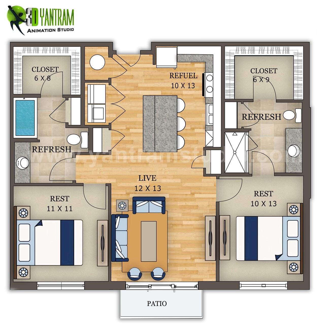 ArtStation - 2D Home Interactive Floor Plan Design by Yantram