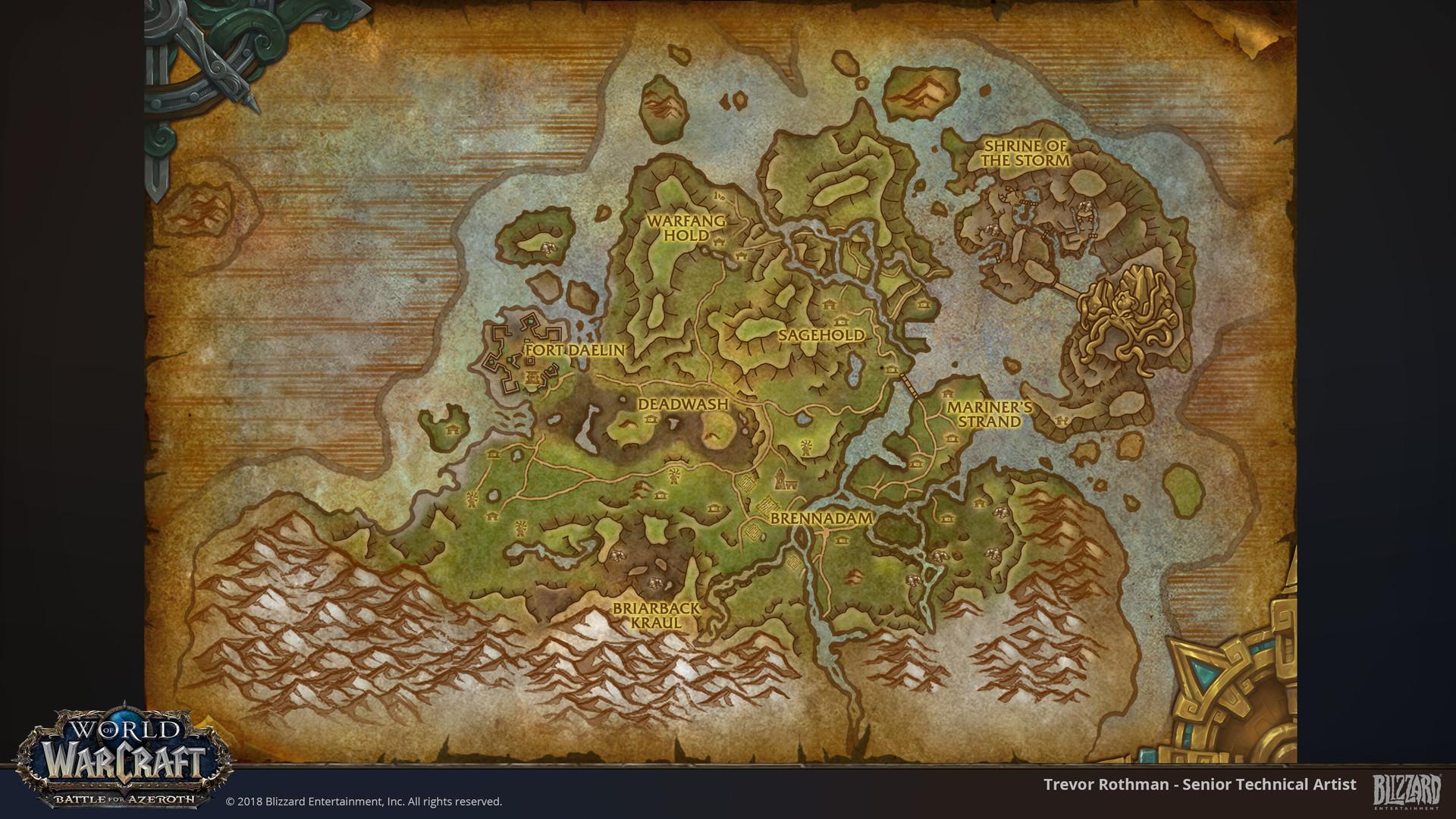 World Of Warcraft World Map ArtStation   World of Warcraft: Battle for Azeroth Maps, Trevor