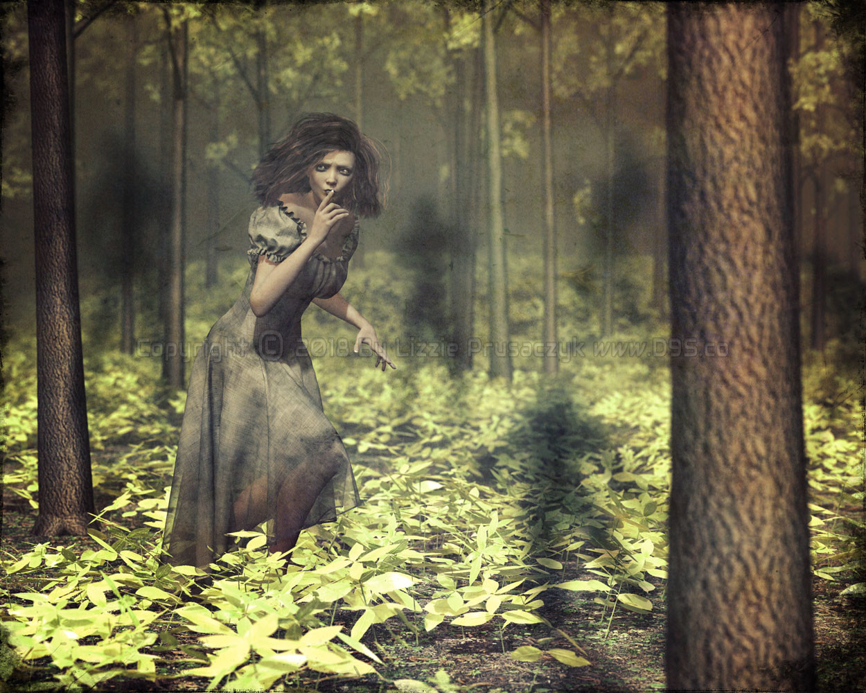 She creeps through the forest hoping to escape her tormentors but she is never alone.