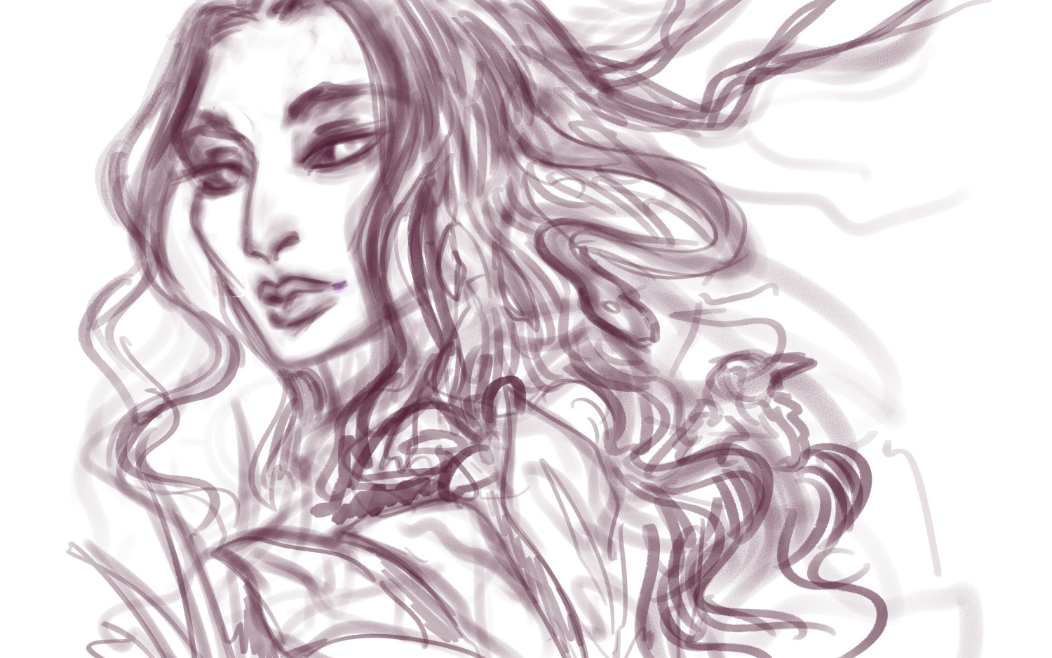 Original rough sketch. The hair details had more life and character, so I may revisit this piece in the future to add something to her wild character