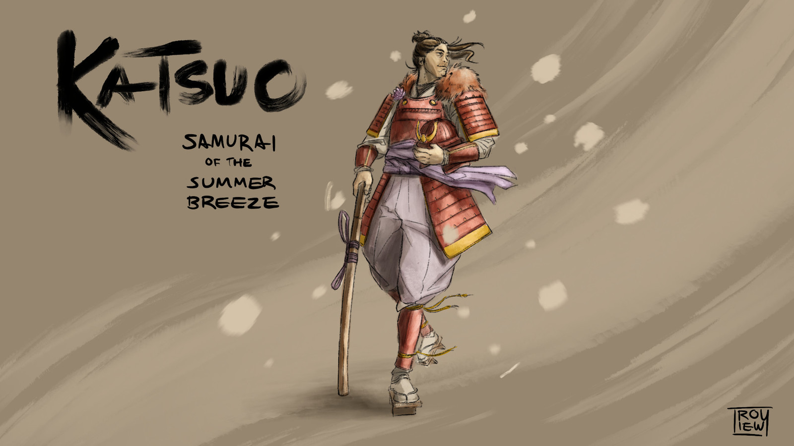 I intended for Katsuo to be an example of a Samurai untested by actual battle. Rather than martial force, he opts to focus on being a presence about town and in court society. As such he's made a name for himself as the Samurai of the Summer Breeze.