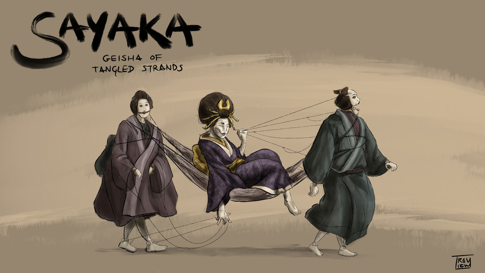 What strange circumstances led Sayaka to her power? The Geisha of Tangled Strands is a master of influence and information, as well as less conventional means of guarded whispers, stories of dark magic, writhing webs, and bizarre puppets the size of men.