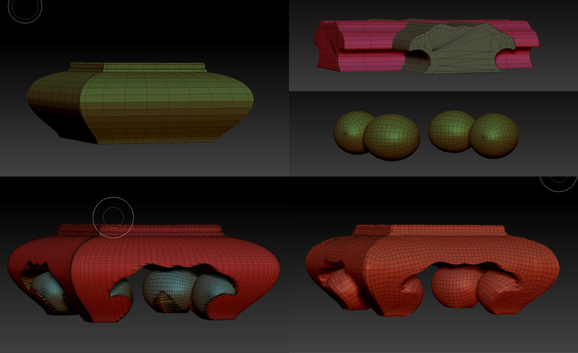 Rather than trying to model the legs in maya, I just used booleans in Zbrush with simple shapes and zremeshed the result.
