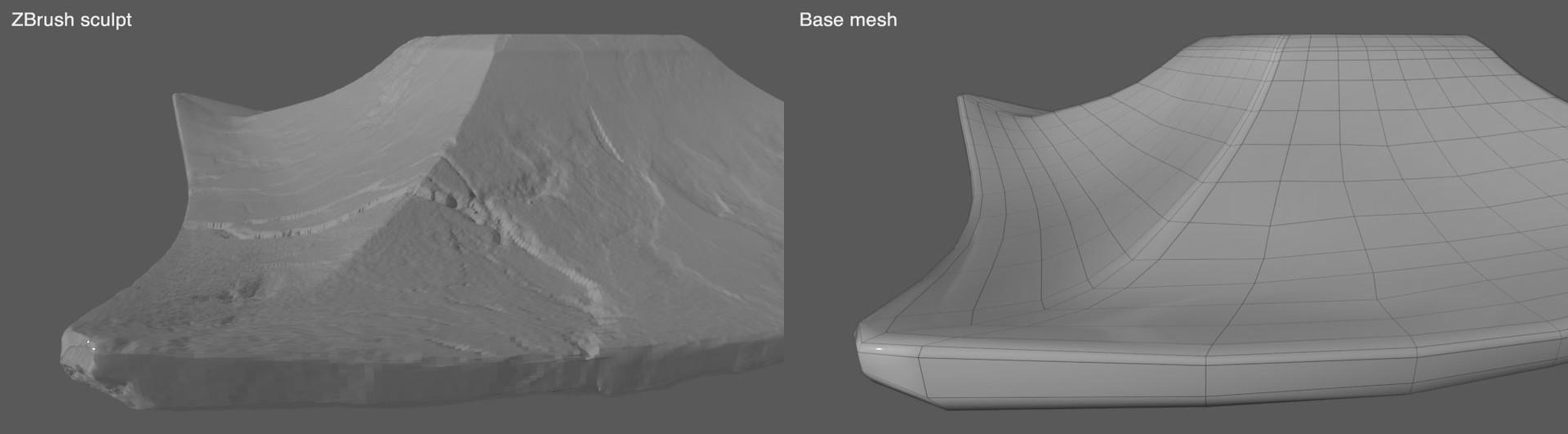 Sculpt vs base mesh.