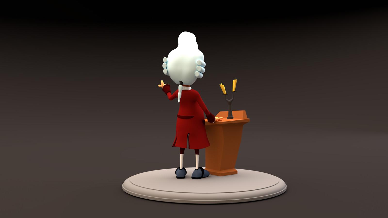 George the Butler, 3D model, back
