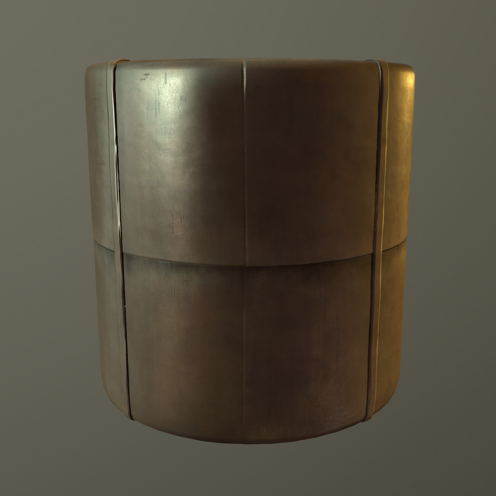 Same material on a rounded cylinder. Rendered with displacement in Marmoset.