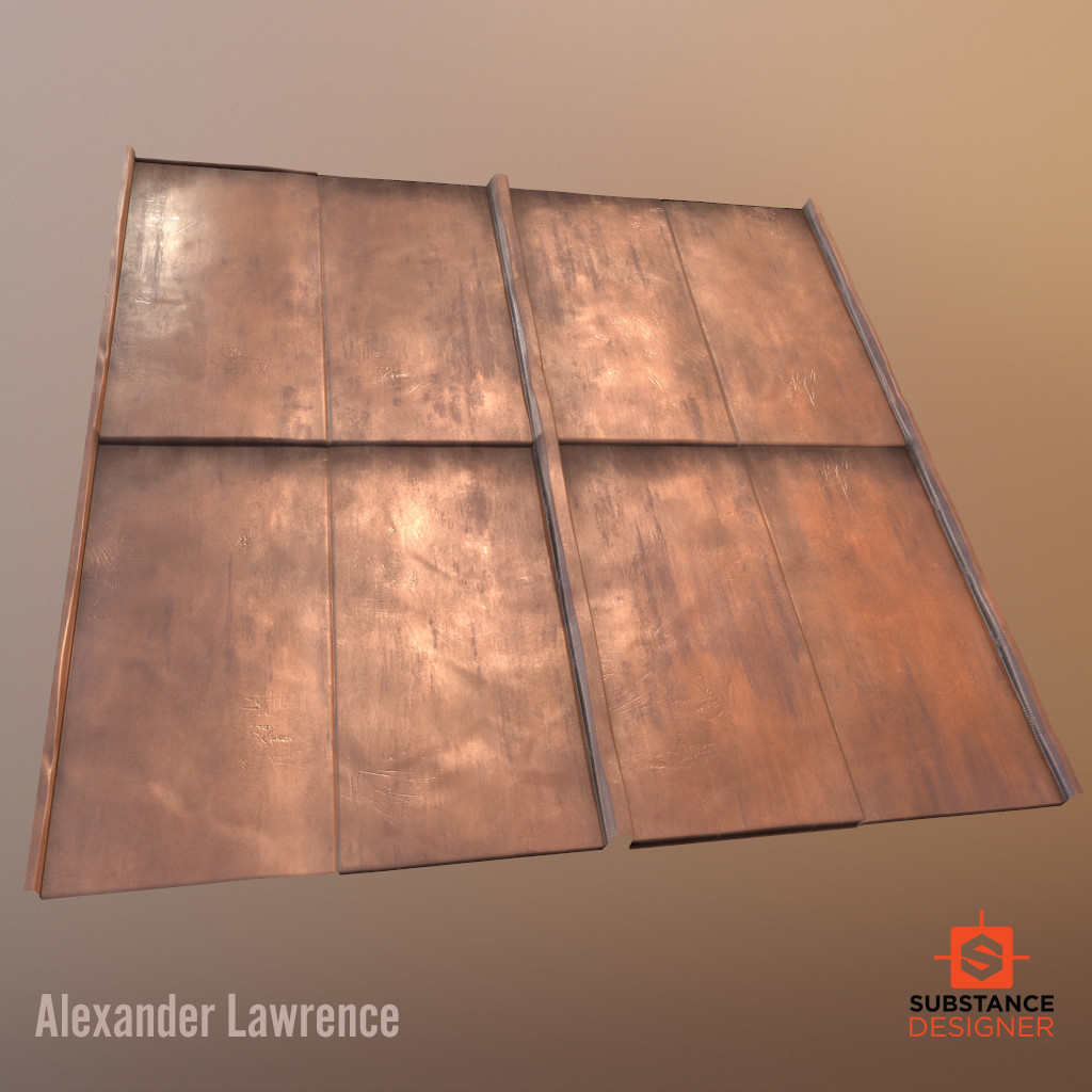 Worn Standing Seam Copper Roof