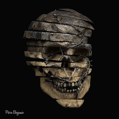 Sliced skull with barb wires