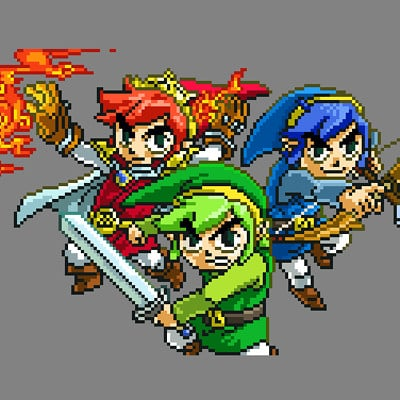 Triforce Heroes Cover Art - Pixel Art Re-style