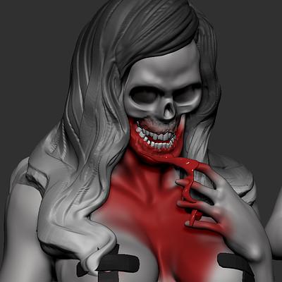 creepy skull woman WIP