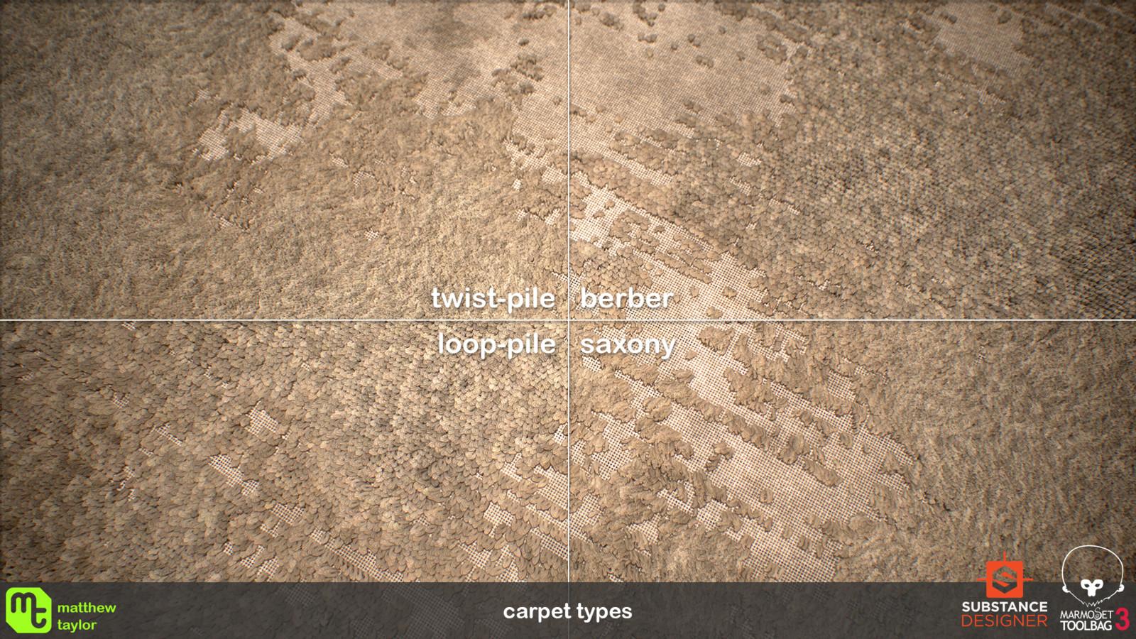 Choose between berber, loop-pile, saxony and twist-pile carpet types.