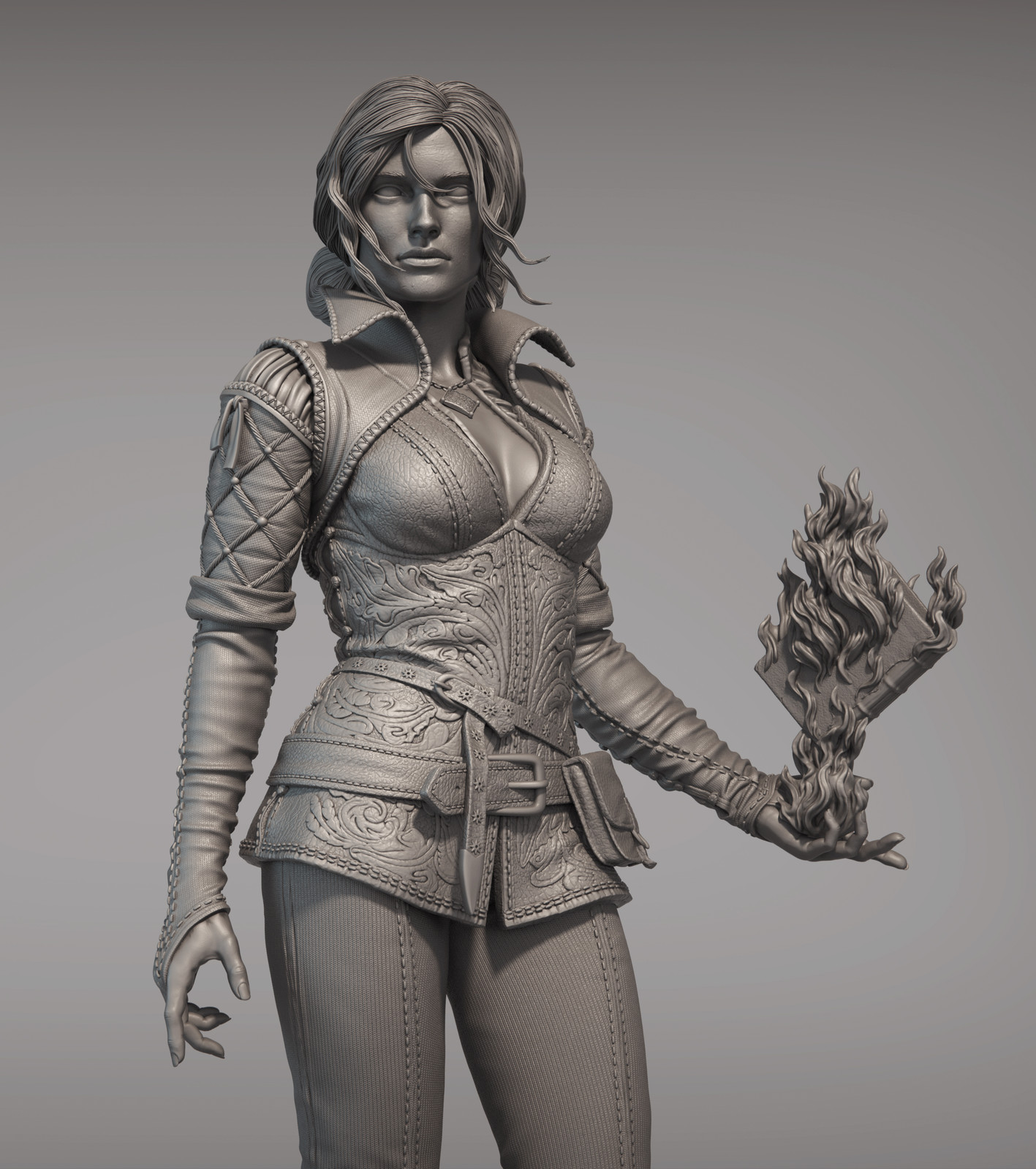 The Witcher - Triss - Clay Render