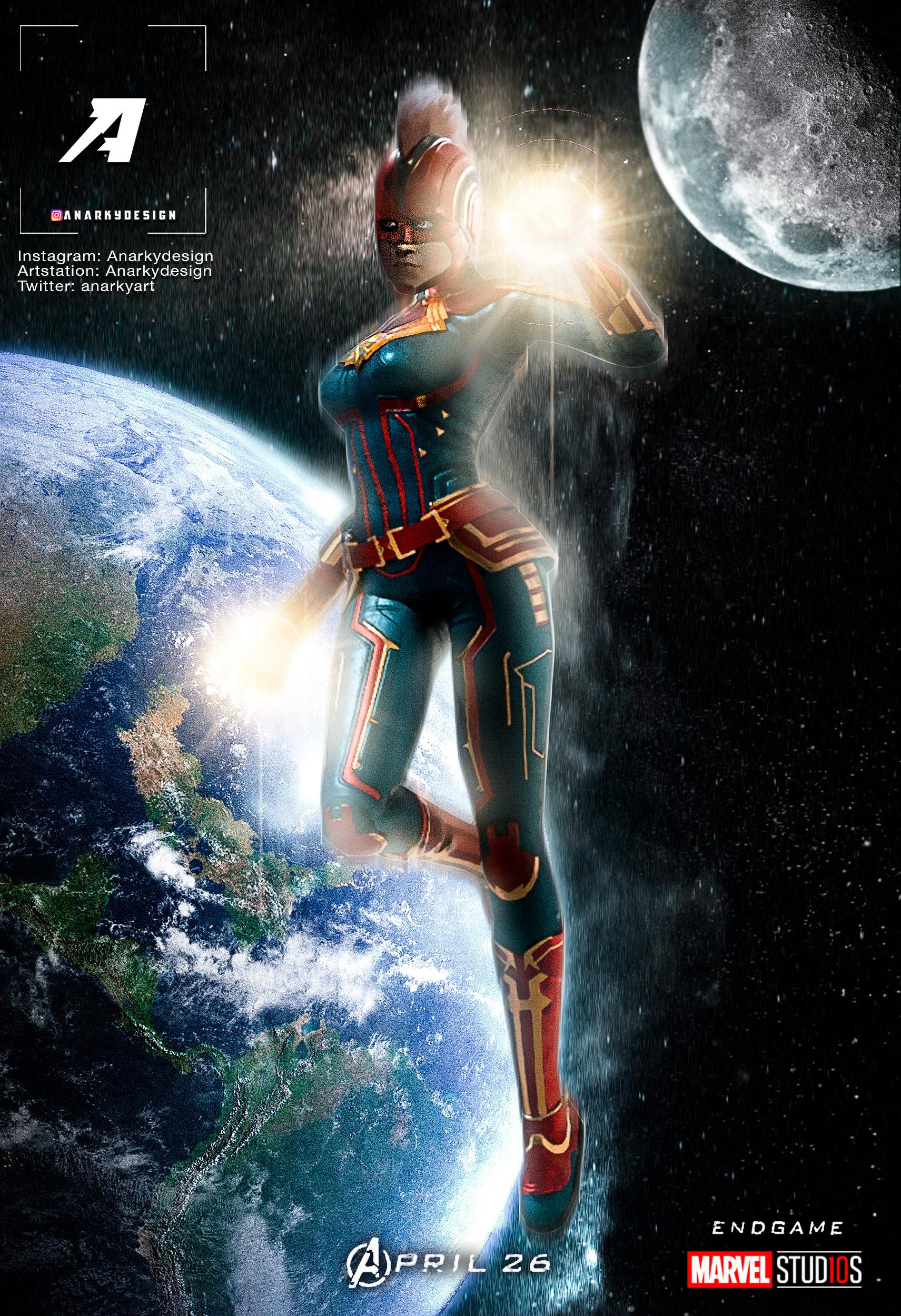 Artstation Captain Marvel Avengers 4 Endgame Character Poster